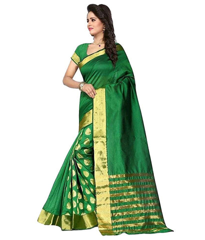 Designer Green Cotton Silk Saree With Embroidered Goli Work Silk Sarees