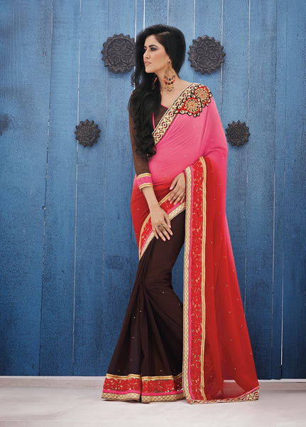 Urban-Naari-Multy-Colored-Georgette-Embroidered-Saree