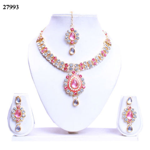 Baby Pink & White Colored Alloy With Moti & Diamond Choker Necklace Set Online