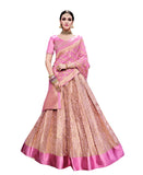 Banarasi Silk Bridal Lehenga Light Pink Semi Stitched Lehenga Choli