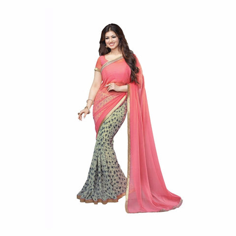 fs-34-indian-festival-saree-peach-color-printed-saree-with-golden-lace-festival-sarees