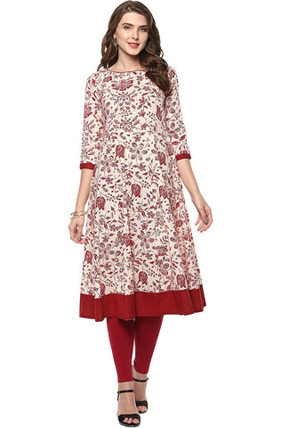 Beige Colored Cotton Anarkali Kurtis Cotton Anarkali Floral Print Kurta