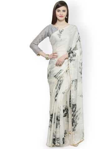Beige & Black Satin Printed Saree