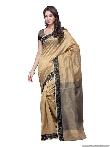Beige Color Cotton Silk Saree With Black Printed Lace Border And Striped Work