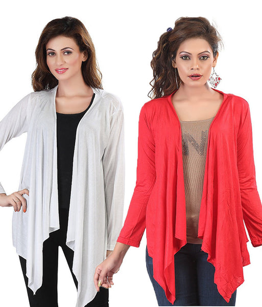 Latest Combo of Red & White Full  Sleeves Long Shrugs With Fril For Women