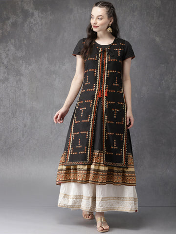 Black Printed Layered Anarkali Kurta