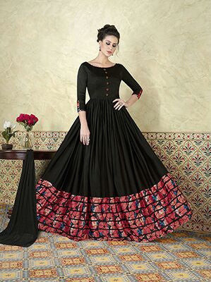 Black Anarkali Suits Floor Length Printed Border Semi Stitched Salwar Suit