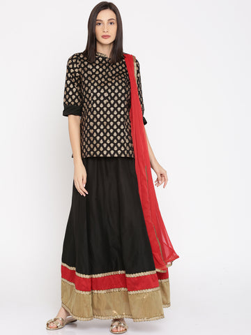 Designer Black Printed Long Kurta Skirt Dupatta Set For Women
