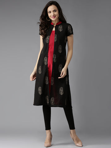 Black & Red Printed Cotton Kurtis Mandarin Collar A-Line Kurta Cotton Long Kurtis