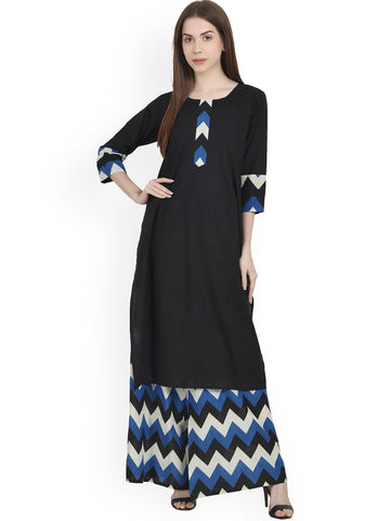 Black and Blue Printed Kurti With Plazo Designer Floral Print Suits With Palazzo