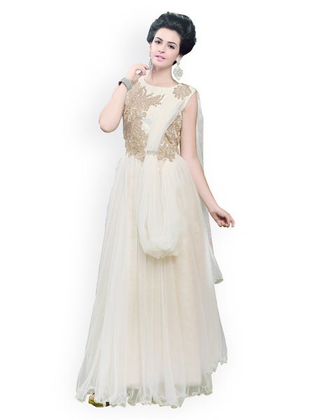 White New Gown Dress  Net Gowns With Golden Embroidery Work