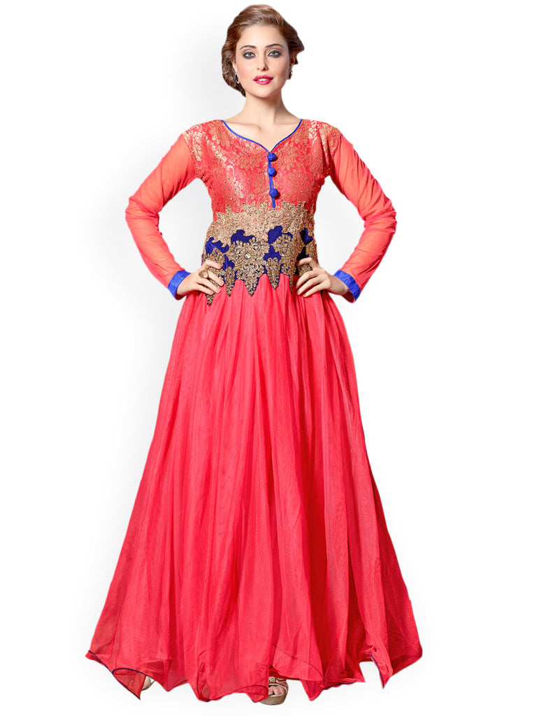 Buy Now Designer Evening Gowns Pink Embroidered Semi Stitched Gown