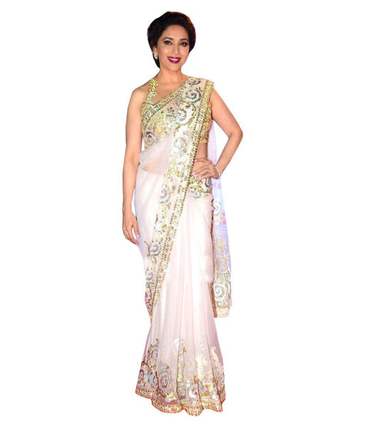 Designer Net Sarees White Color Embroidery & Thread Work Net Saree For Women