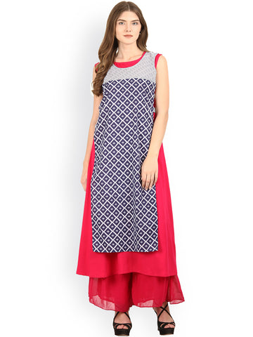Blue & Pink Printed A Line Layered Kurta Designer Layered Anarkali Kurtas
