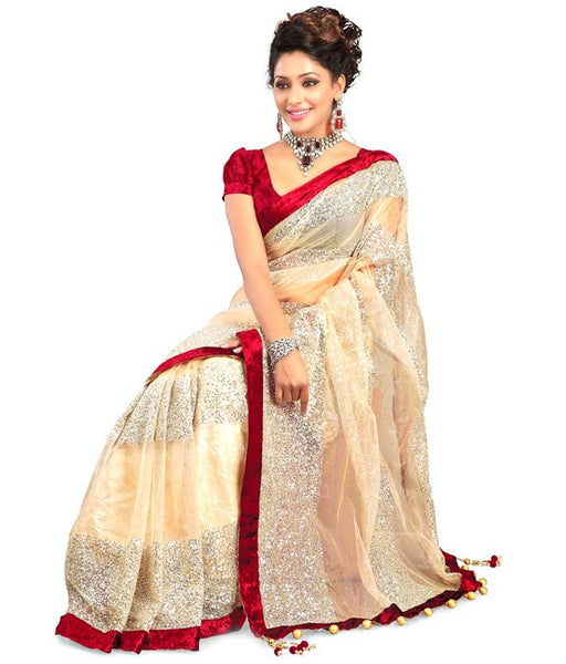 Designer Net Sarees Beige Color With Silver Embroidery & Lace Work Designer Net Saree For Women