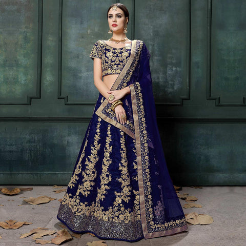 Bridal Lehenga Online Blue Colored Wedding Wear Embroidered Raw Silk Lehenga