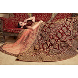 Bridal Lehenga Online Red Colored Partywear Embroidered Pure Velvet Lehenga Choli