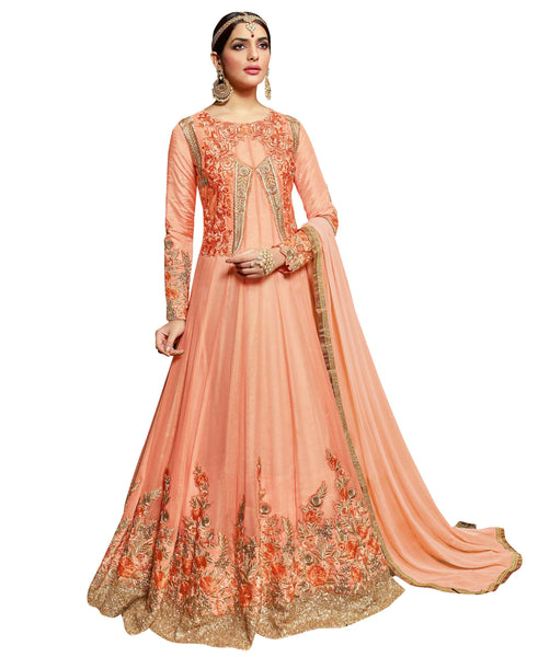 Bridal Anarkali Suits Online Pure Georgette Floral Embroidery Work Semi Stitched Anarkali Suits