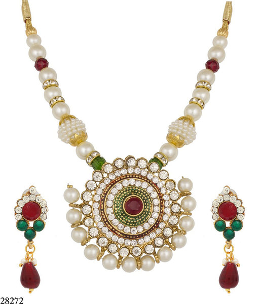 Bridal Jewelry Collection Maroon & Green Moti & Diamond Neck Jewelry