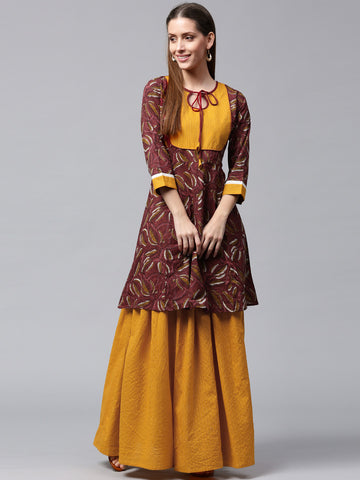 Burgundy & Mustard Yellow Printed Kurta Skirt Set for Women