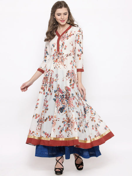 Buy Now Floral Print Long Anarkalis - Women Multicoloured Floral Printed Anarkali Cotton Kurta