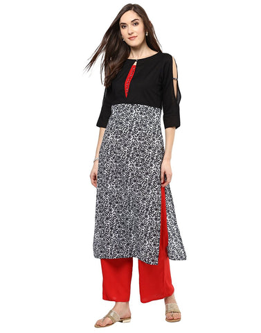 Buy Palazzo Suits For Women's Casual Wear Black Floral Print Kurta With Red Palazzo Suits