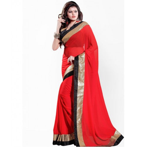 Designer Sarees Women`S Fashionable Crepe Georgette Saree With Blouse For Women