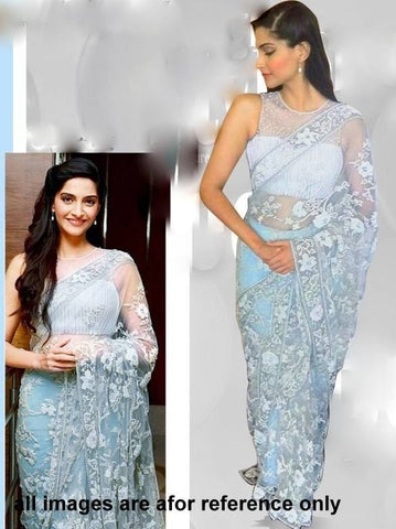 Sonam Kapoor White Party Wear Saree Net Designer Saree with White Bead Work