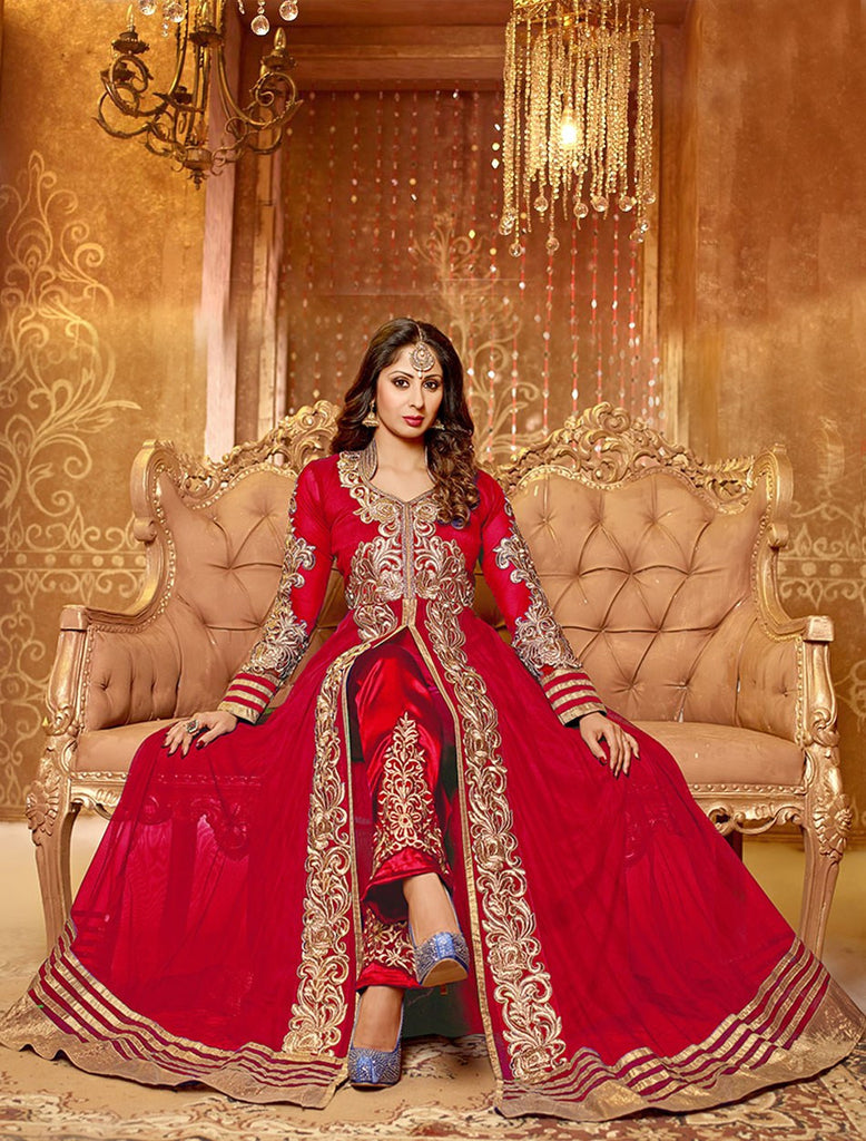 f42a9f7e4 Shop Online Designer Red Color Georgette Front Open Partywear Anarkali Suit  With full of Embroidery Work – Lady India