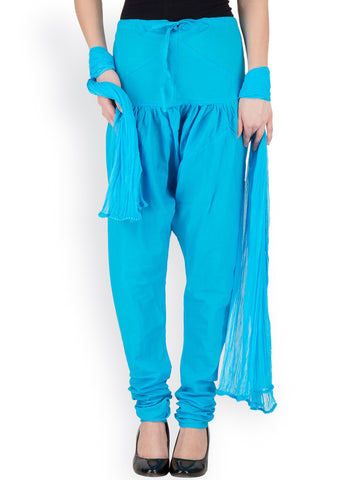Dupatta And Leggings Sky Blue Color Cotton Leggings With Matching Dupatta LS98