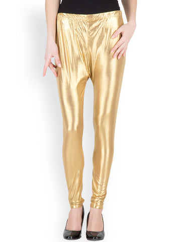 Shimmer Leggings Golden Color Plain Leggings For Girl LS40