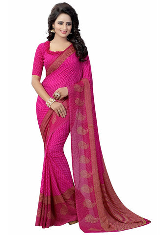 Casual Wear Dark Pink With Broad Border Designer Printed Georgette Sarees