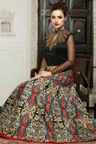 Evening Wear Gowns Black Colored Silk Embroidery & Moti, Sequence Work Semi-Stitched Designer Gowns