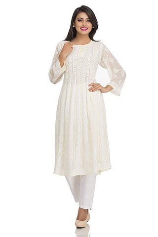 Chikankari White Anarkali Suit