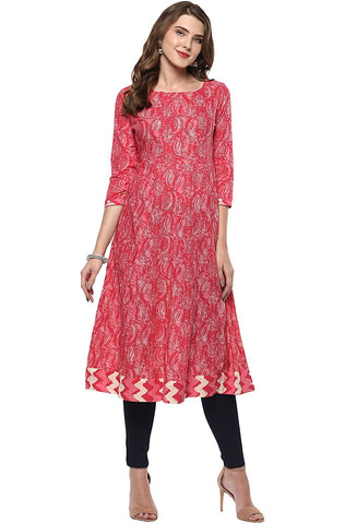 Cotton Anarkali Kurtis Printed Cotton Anarkali Kurta