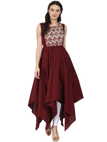 Cotton Printed Anarkali Kurta - Designer Asymmetrical Anarkali Kurtas