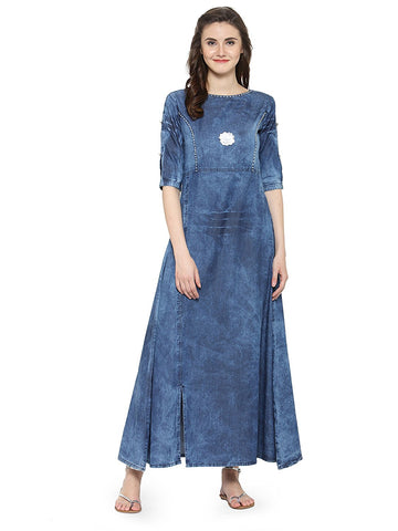 Cotton Blue Denim Anarkali Kurta