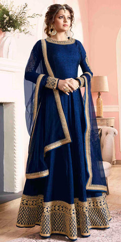 Drashti Dhami/Madhubala Designer Anarkali Suit Silk Embroidered Royal Blue Suit