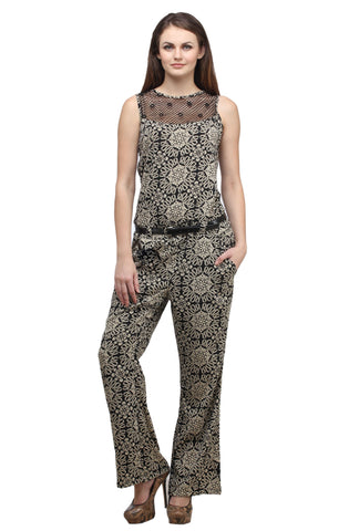 Online Jumpsuits Brown Color Printed Jumpsuit With Lace Neck Design
