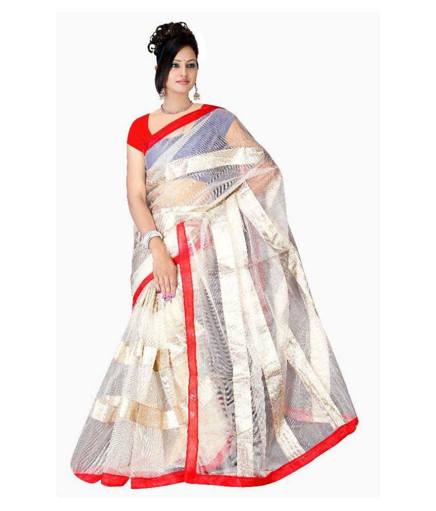 9c47cef26fa Shop Now Off-White Color Net Saree Designed With Golden Stripes   Red Lace  Border Work – Lady India