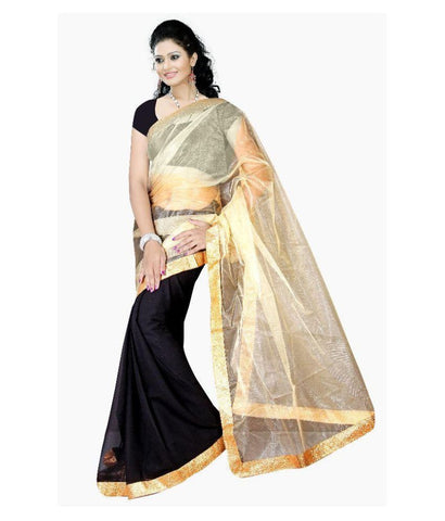 Black & Golden Color Net Saree Plain Designer Net Sarees For Women