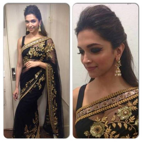 partywear-black-bollywood-sarees-with-golden-floral-embroidery-work-deepika-padukone's-designer-bollywood-sarees