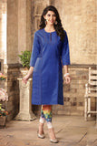 Denim Kurtis Online Blue Color Printed Denim Kurti For Girl