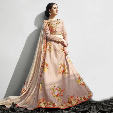 Designer Lehenga Multi Colored Designer Partywear Embroidered Silk Lehenga Choli