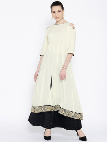 Designer Off-White & Black Solid Long Kurta with Skirt
