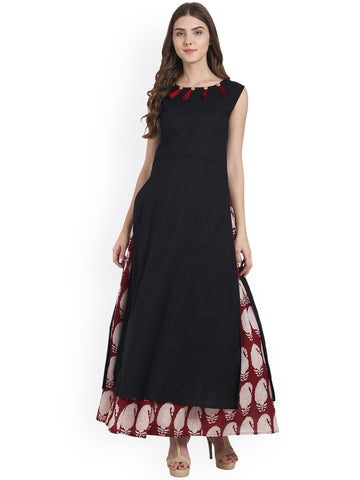 Designer Printed Long Kurta with Skirt Set Black & Maroon Printed Straight Long Kurta with Skirt
