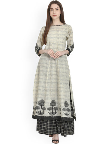Designer Printed Long Kurta with Skirt Set For Women Straight Kurta With Check Print Skirt