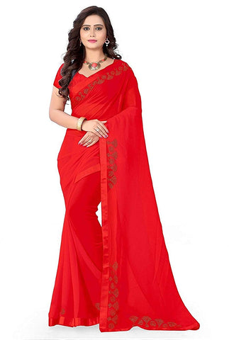 Designer Red Color Saree