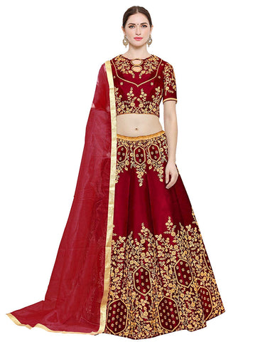 Designer Red Lehenga - Embroidered Bangalore Silk Lehenga Choli