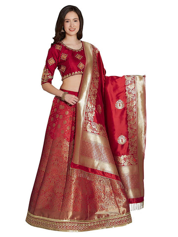 Designer Red Lehenga Weaving Silk Blend Semi Stitched Anarkali Style Lehenga Choli with Dupatta